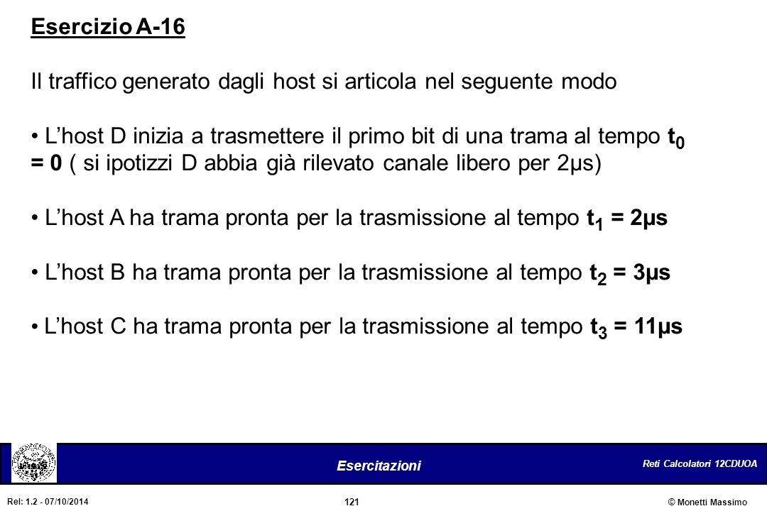 Esercizio A-16 Il traffico generato dagli host si articola nel seguente modo.