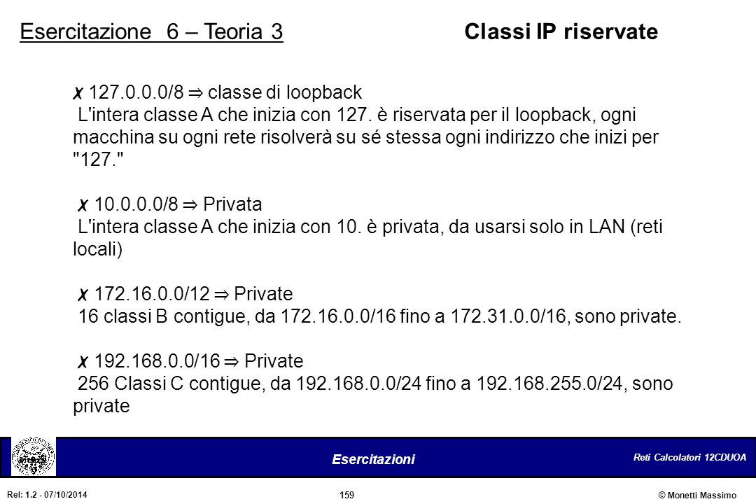 Esercitazione 6 – Teoria 3 Classi IP riservate