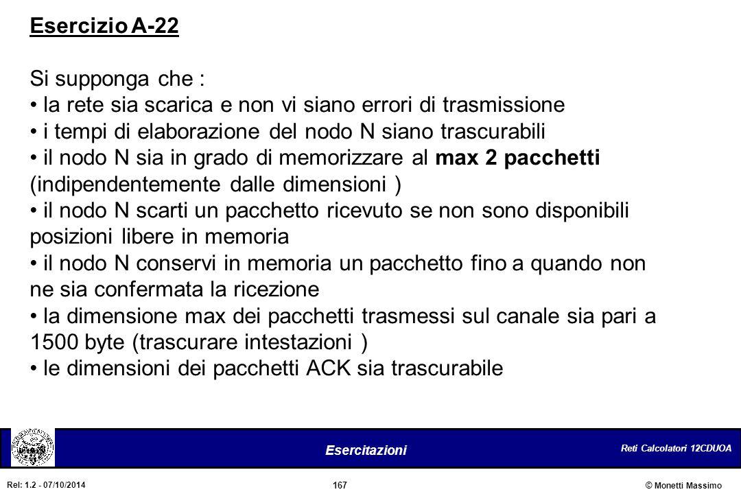 Esercizio A-22 Si supponga che : la rete sia scarica e non vi siano errori di trasmissione. i tempi di elaborazione del nodo N siano trascurabili.