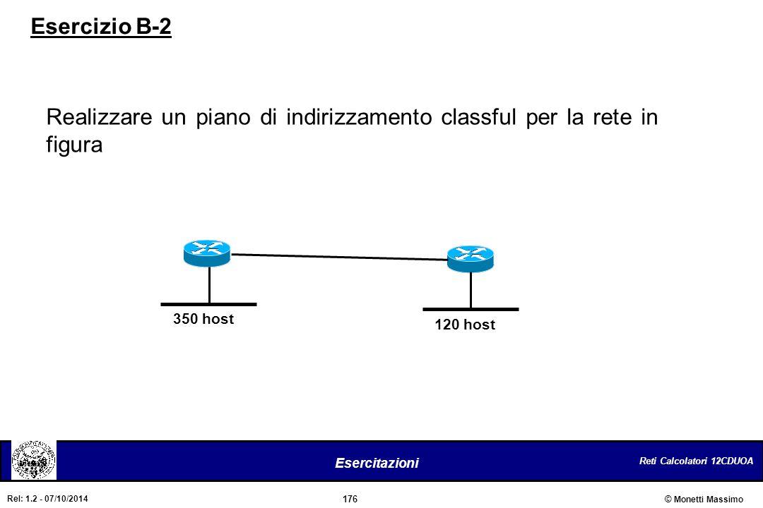 Realizzare un piano di indirizzamento classful per la rete in figura