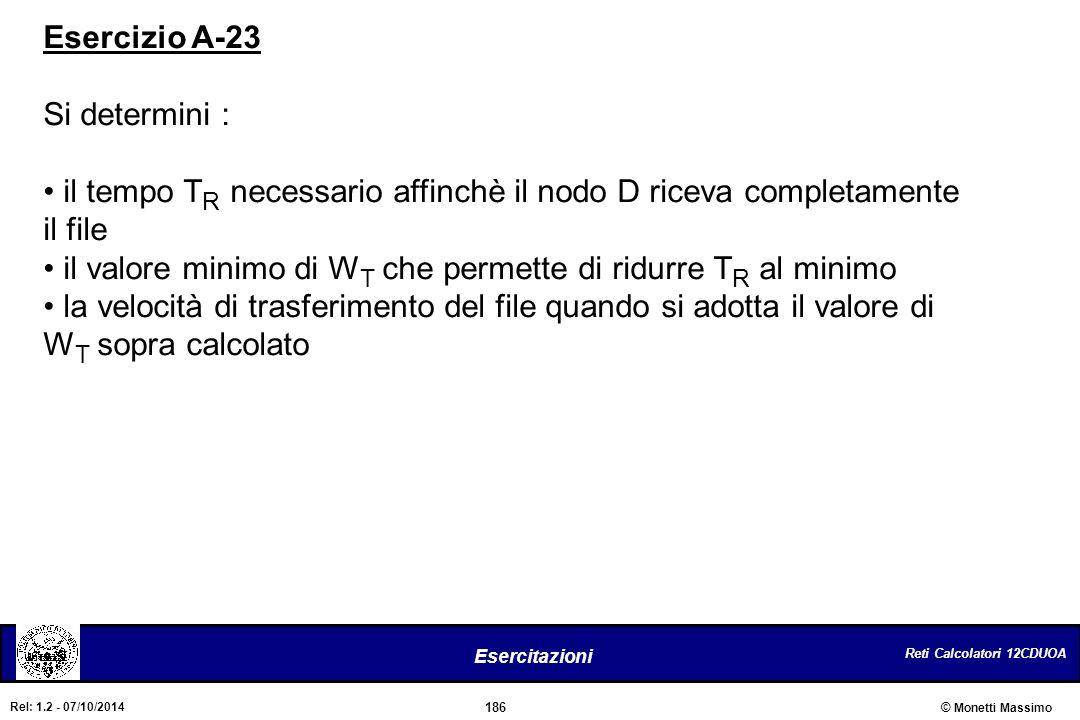 Esercizio A-23 Si determini : il tempo TR necessario affinchè il nodo D riceva completamente il file.