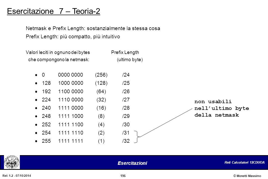 Esercitazione 7 – Teoria-2