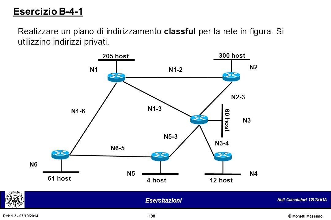 Esercizio B-4-1 Realizzare un piano di indirizzamento classful per la rete in figura. Si utilizzino indirizzi privati.