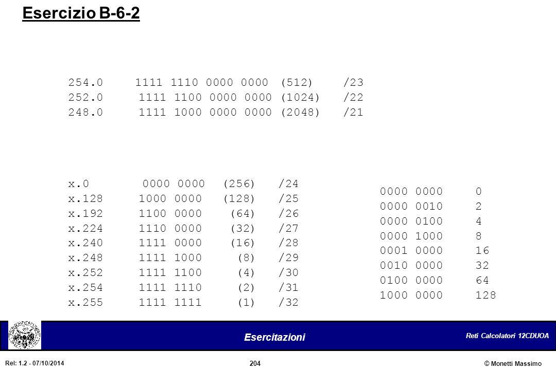 Esercizio B-6-2 254.0 1111 1110 0000 0000 (512) /23. 252.0 1111 1100 0000 0000 (1024) /22.