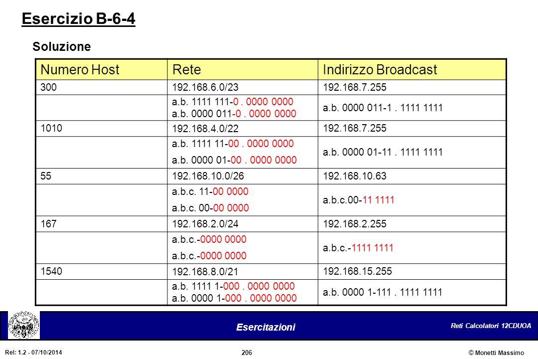 Esercizio B-6-4 Numero Host Rete Indirizzo Broadcast Soluzione 300