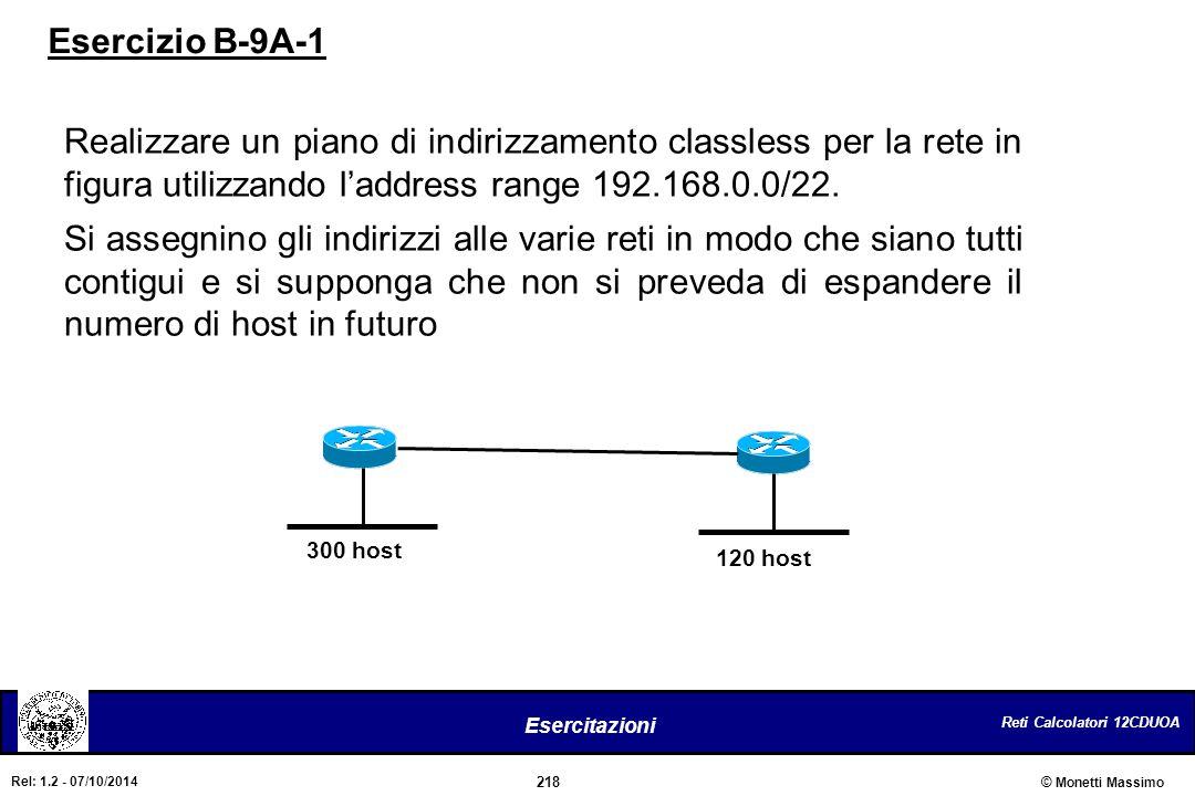 Esercizio B-9A-1 Realizzare un piano di indirizzamento classless per la rete in figura utilizzando l'address range 192.168.0.0/22.
