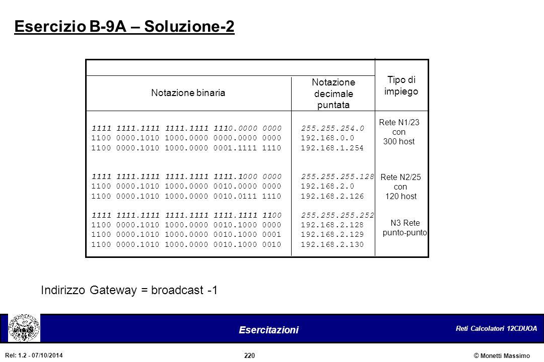 Esercizio B-9A – Soluzione-2