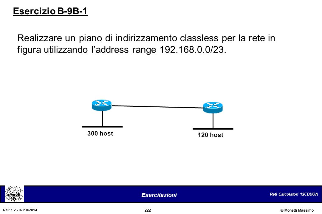 Esercizio B-9B-1 Realizzare un piano di indirizzamento classless per la rete in figura utilizzando l'address range 192.168.0.0/23.