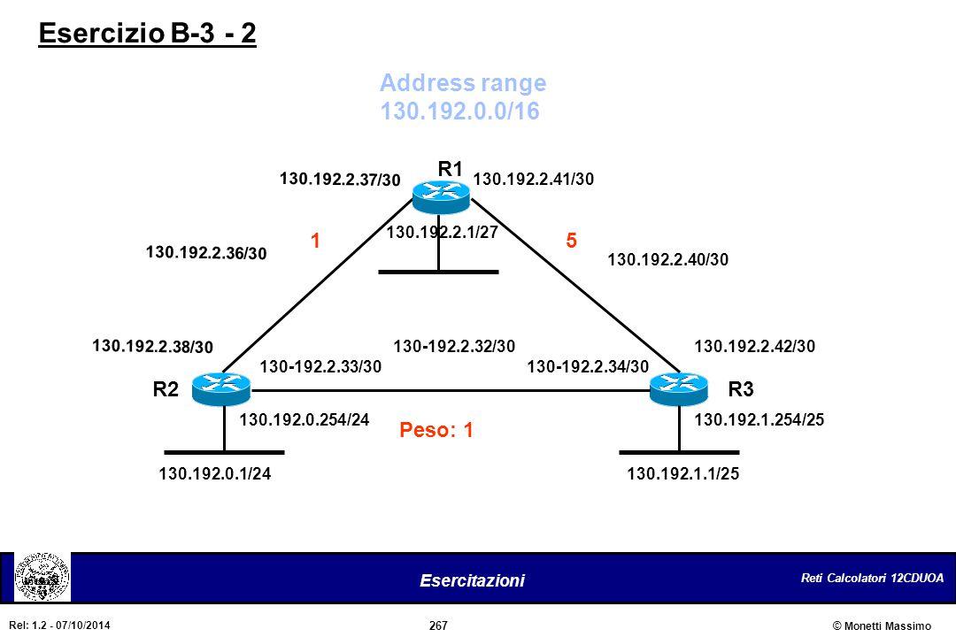 Esercizio B-3 - 2 Address range 130.192.0.0/16 R1 1 5 R2 R3 Peso: 1