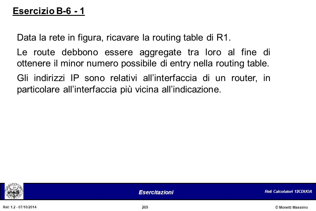Esercizio B-6 - 1 Data la rete in figura, ricavare la routing table di R1.
