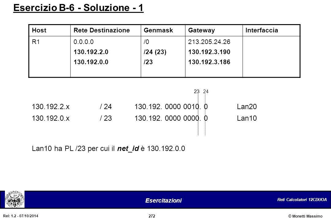 Esercizio B-6 - Soluzione - 1