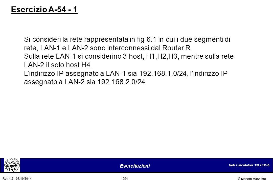 Esercizio A-54 - 1 Si consideri la rete rappresentata in fig 6.1 in cui i due segmenti di. rete, LAN-1 e LAN-2 sono interconnessi dal Router R.