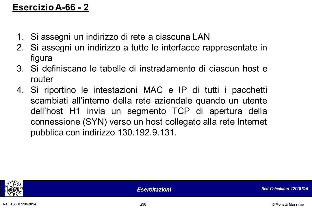 Esercizio A-66 - 2 Si assegni un indirizzo di rete a ciascuna LAN