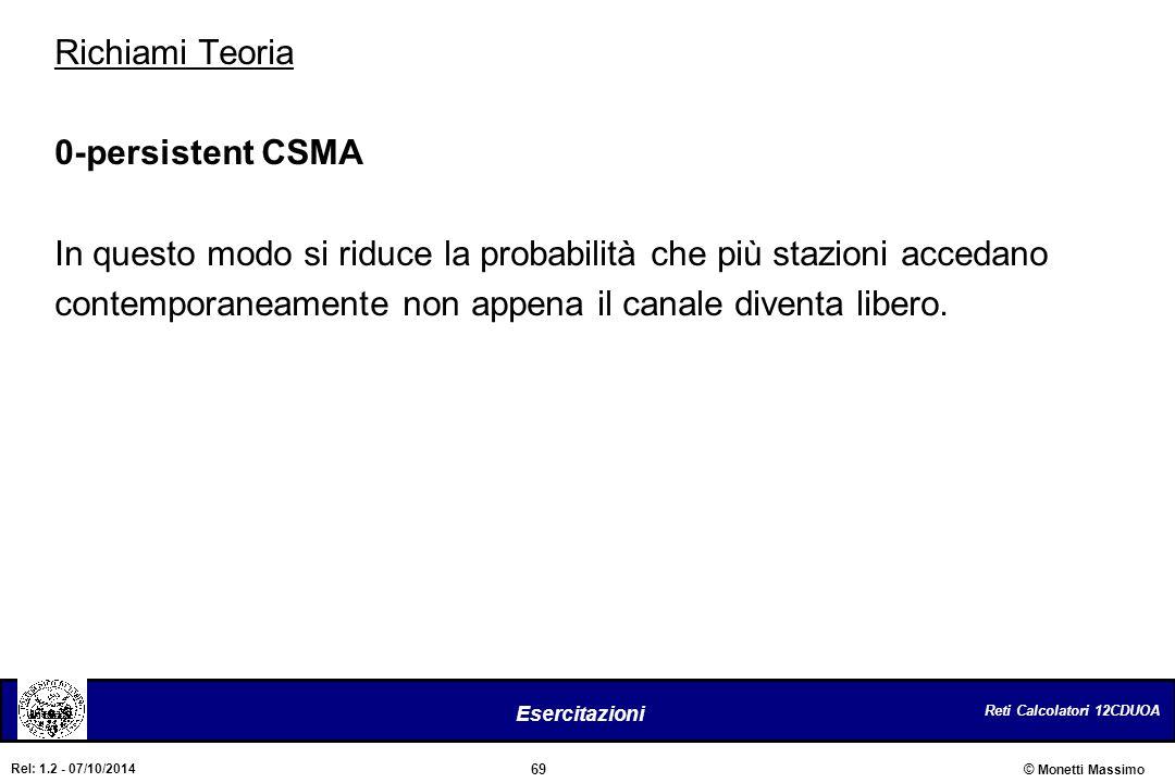 Richiami Teoria 0-persistent CSMA. In questo modo si riduce la probabilità che più stazioni accedano.