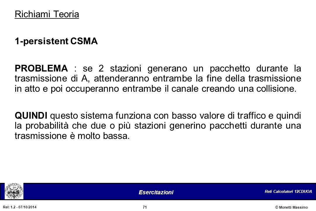Richiami Teoria 1-persistent CSMA.