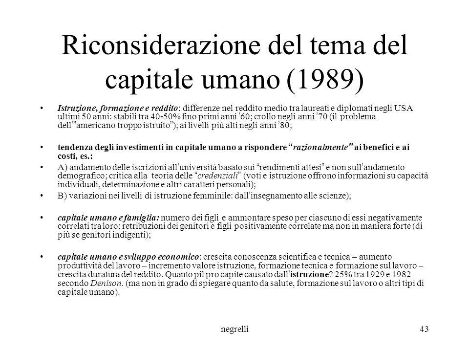 Riconsiderazione del tema del capitale umano (1989)