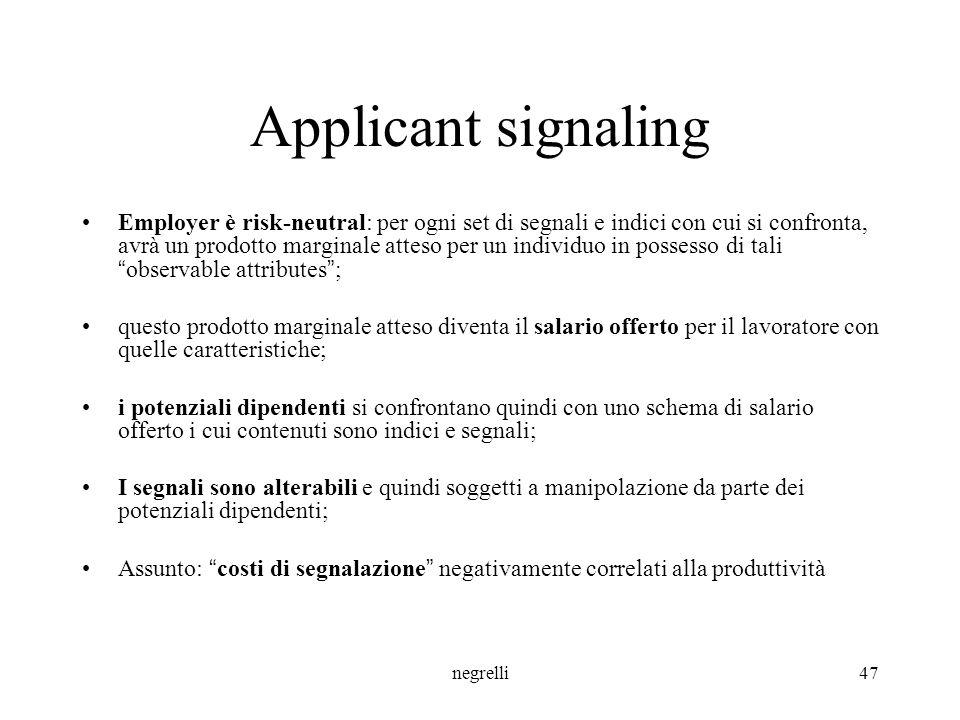 Applicant signaling