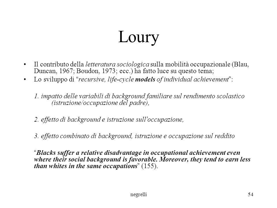 Loury Il contributo della letteratura sociologica sulla mobilità occupazionale (Blau, Duncan, 1967; Boudon, 1973; ecc.) ha fatto luce su questo tema;