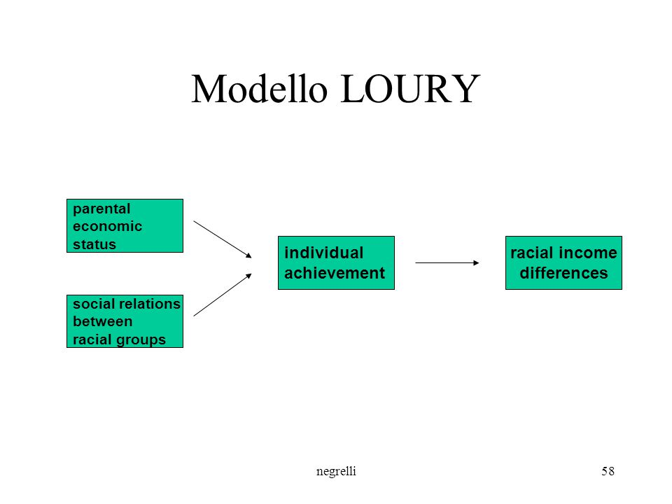 Modello LOURY individual achievement racial income differences