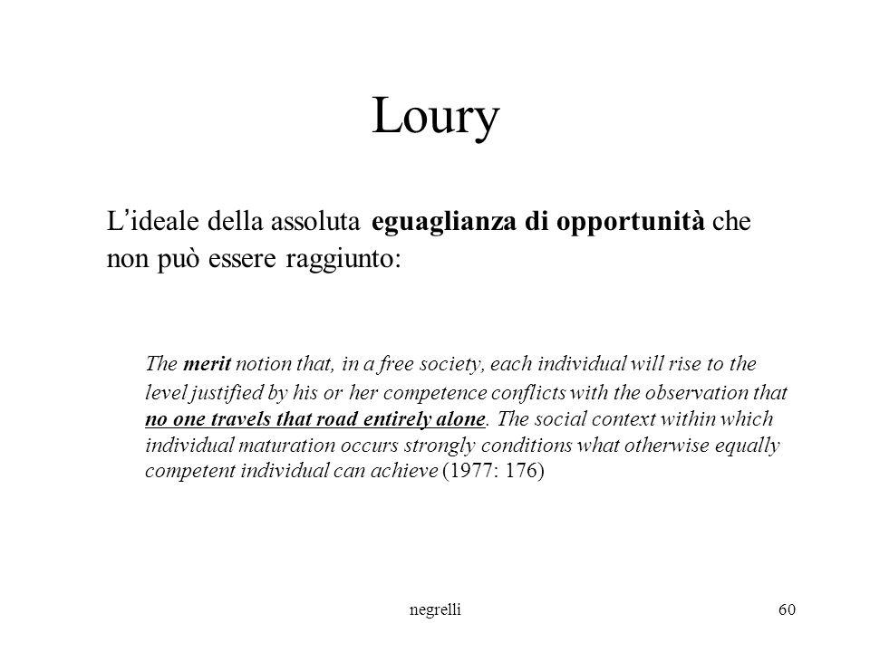 Loury L'ideale della assoluta eguaglianza di opportunità che non può essere raggiunto: