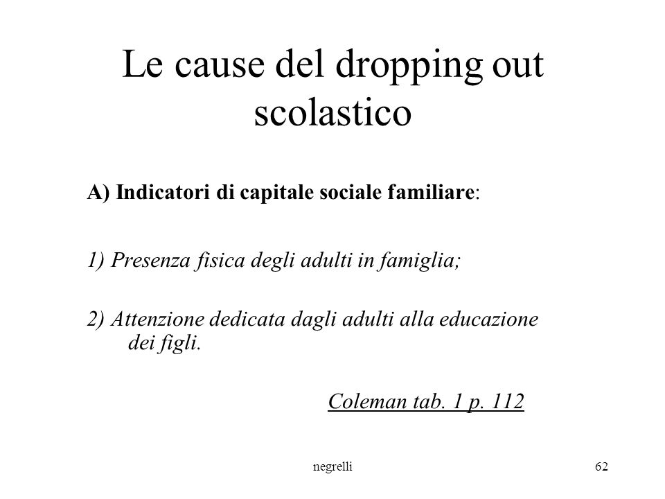 Le cause del dropping out scolastico