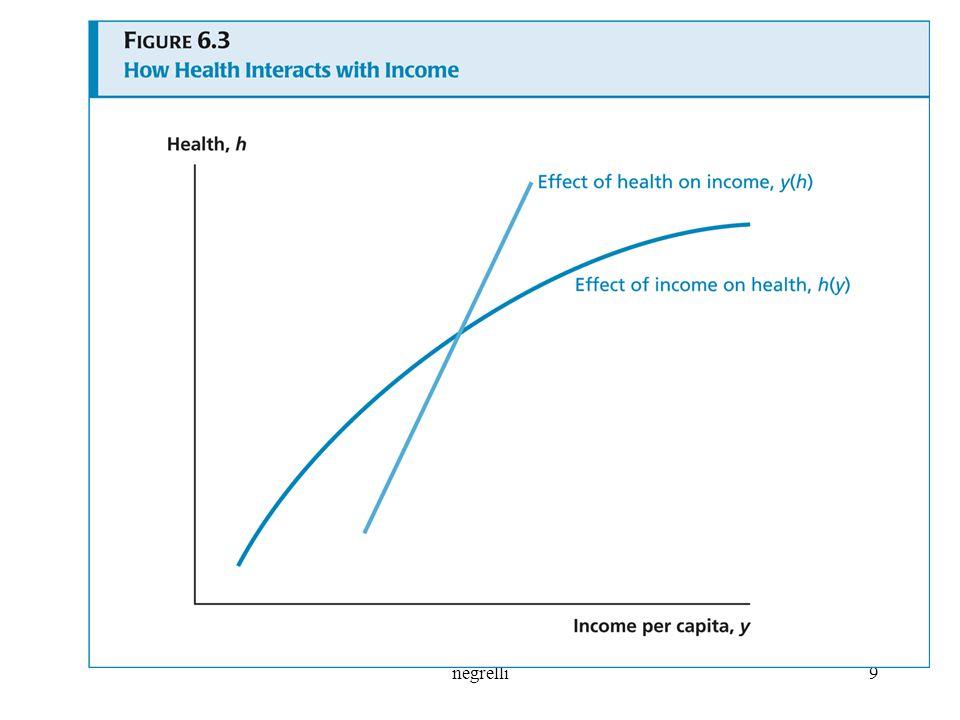 La curva y(h) mostra l'impatto della salute sul livello di reddito pro-capite: al crescere di h, i lavoratori producono più output: verso l'alto inclinata. La seconda curva h(y) mostra l'impatto del reddito pro-capite sulla salute, è anch'essa verso l'alto tende ad appiattirsi a livelli più alti di reddito poiché gli effetti benefici del reddito sulla salute si hanno maggiormente ai più bassi livelli di reddito. L'intersezione delle due curve determina i livelli di equilibrio di reddito e salute