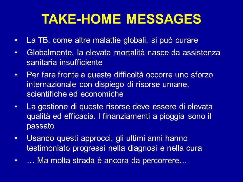TAKE-HOME MESSAGES La TB, come altre malattie globali, si può curare