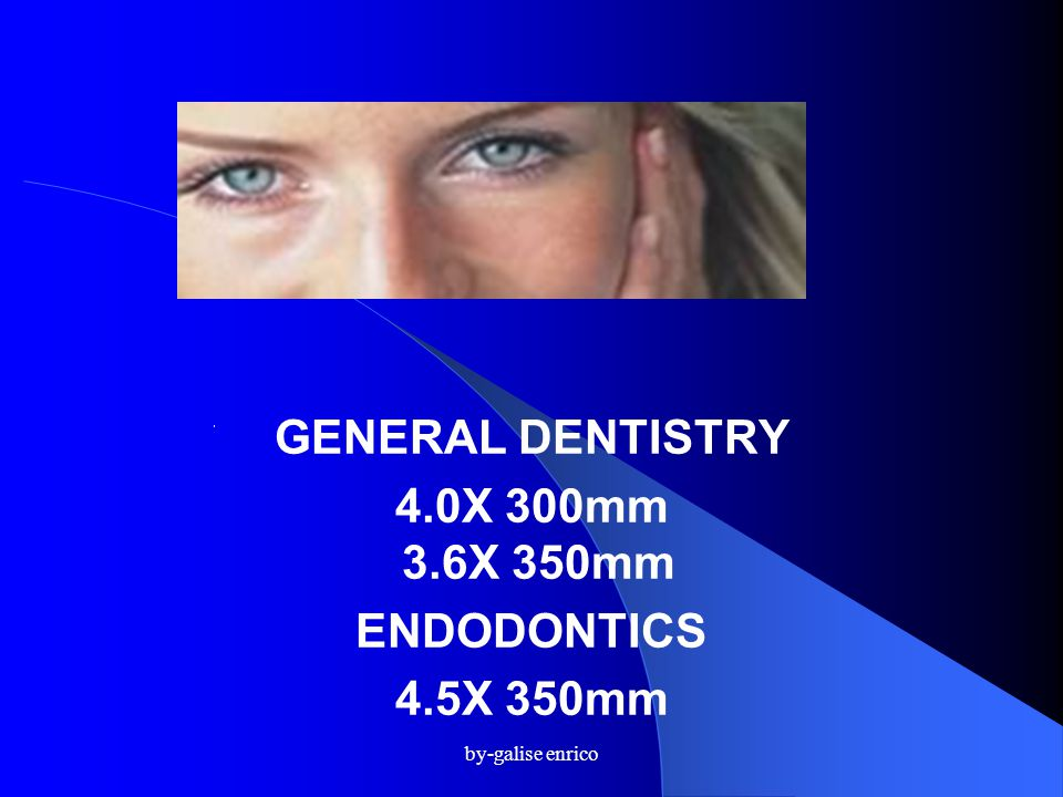 GENERAL DENTISTRY 4.0X 300mm 3.6X 350mm ENDODONTICS 4.5X 350mm