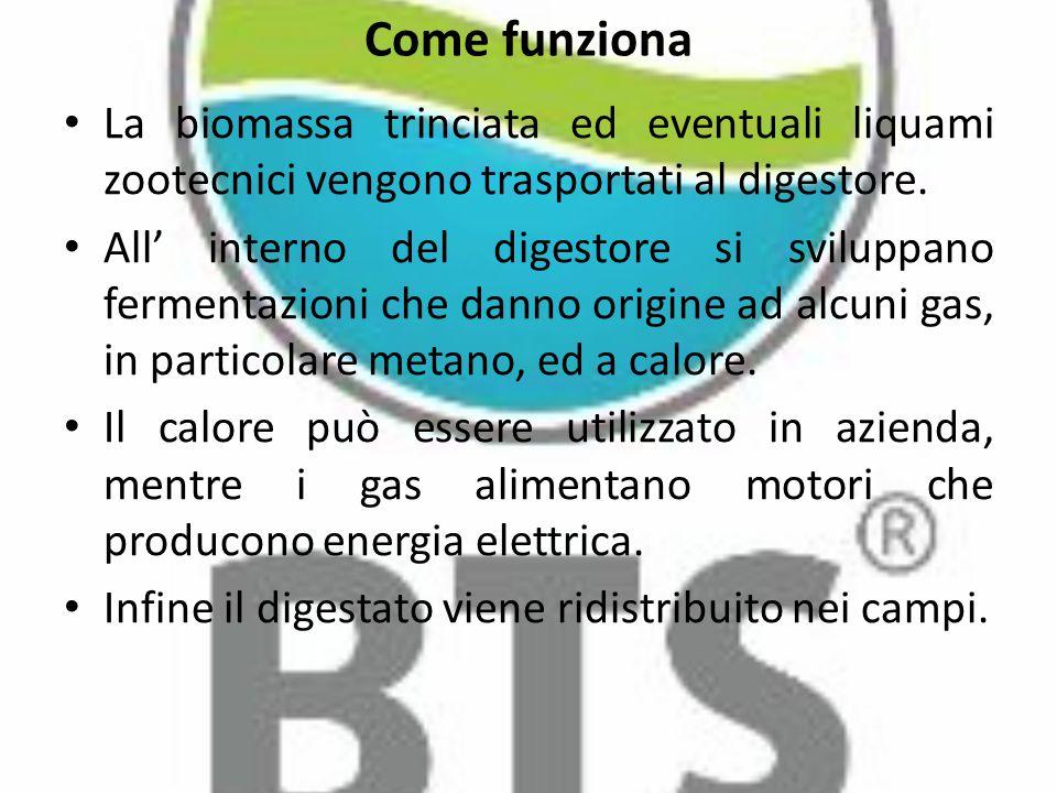 Come funziona La biomassa trinciata ed eventuali liquami zootecnici vengono trasportati al digestore.