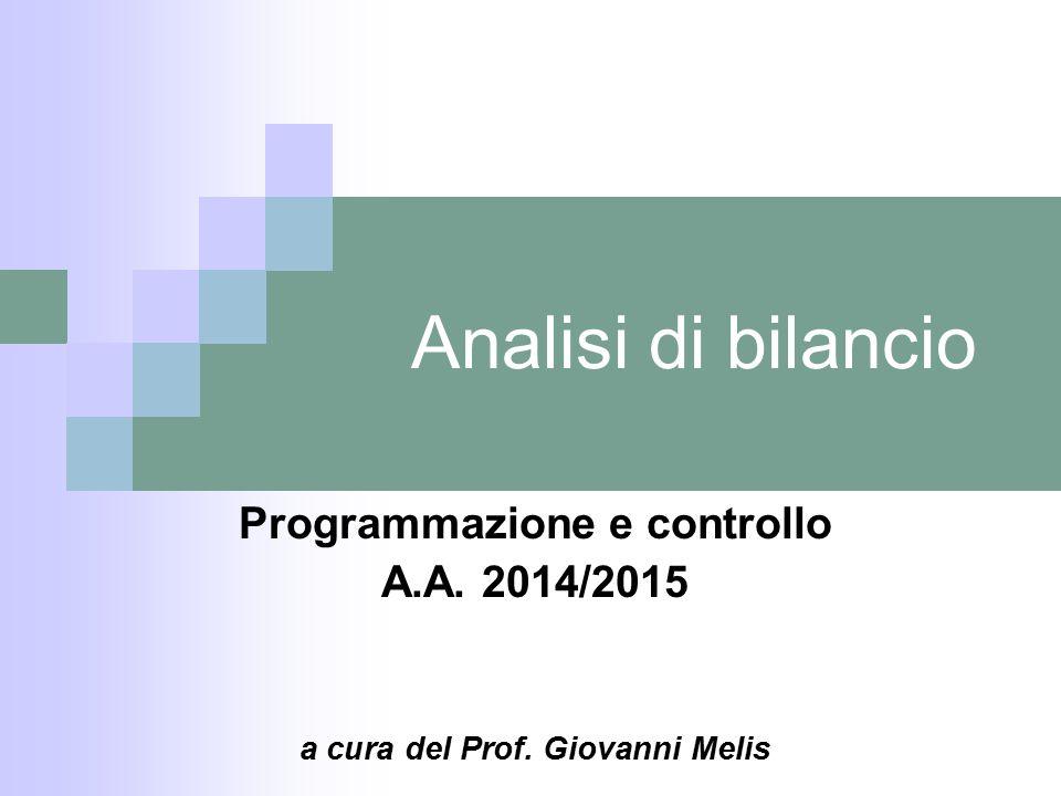 Programmazione e controllo a cura del Prof. Giovanni Melis