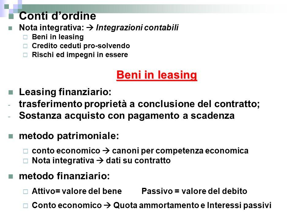 Conti d'ordine Leasing finanziario: