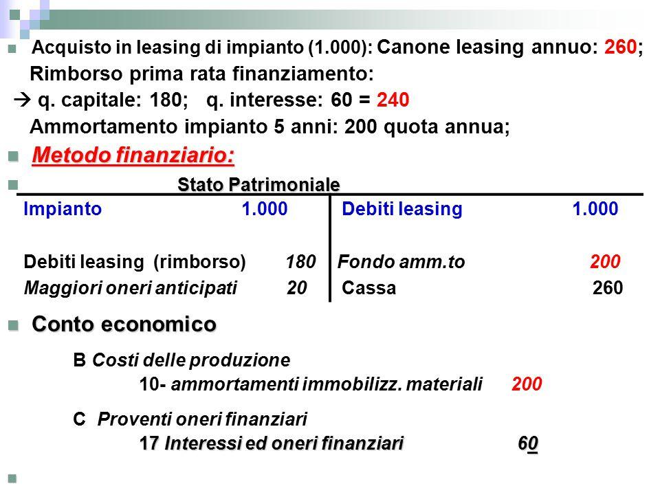 Metodo finanziario: Stato Patrimoniale Conto economico