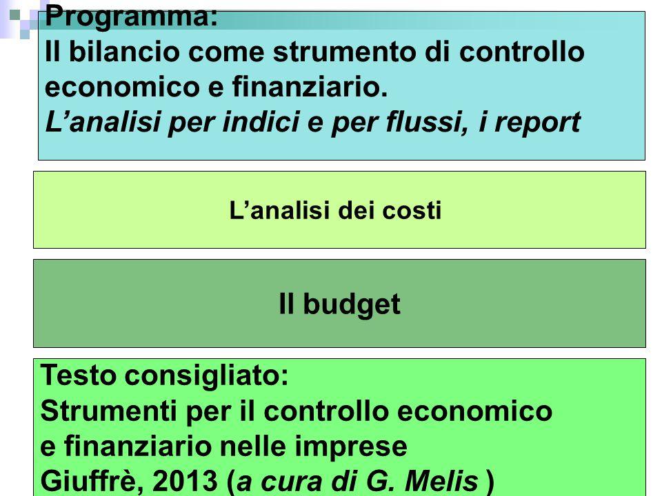 Il bilancio come strumento di controllo economico e finanziario.