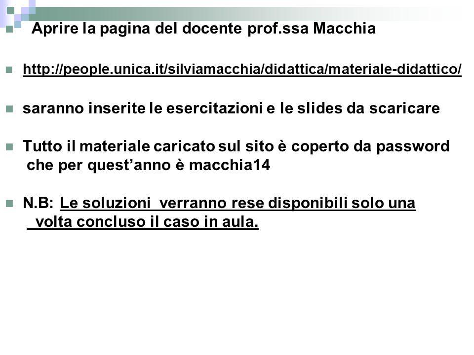 Aprire la pagina del docente prof.ssa Macchia