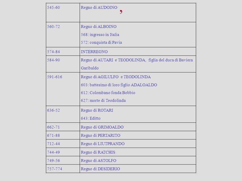 , 545-60 Regno di AUDOINO 560-72 Regno di ALBOINO