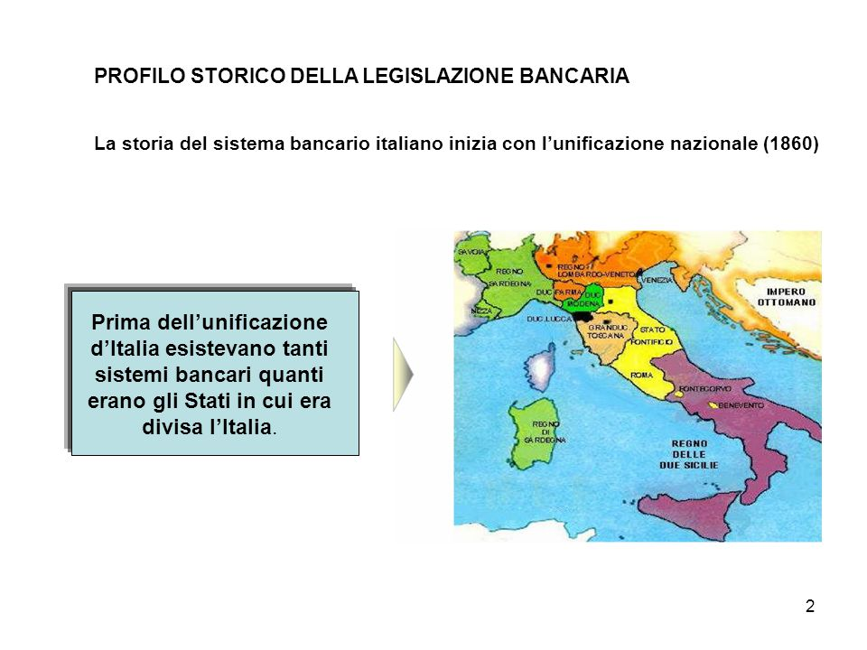 PROFILO STORICO DELLA LEGISLAZIONE BANCARIA