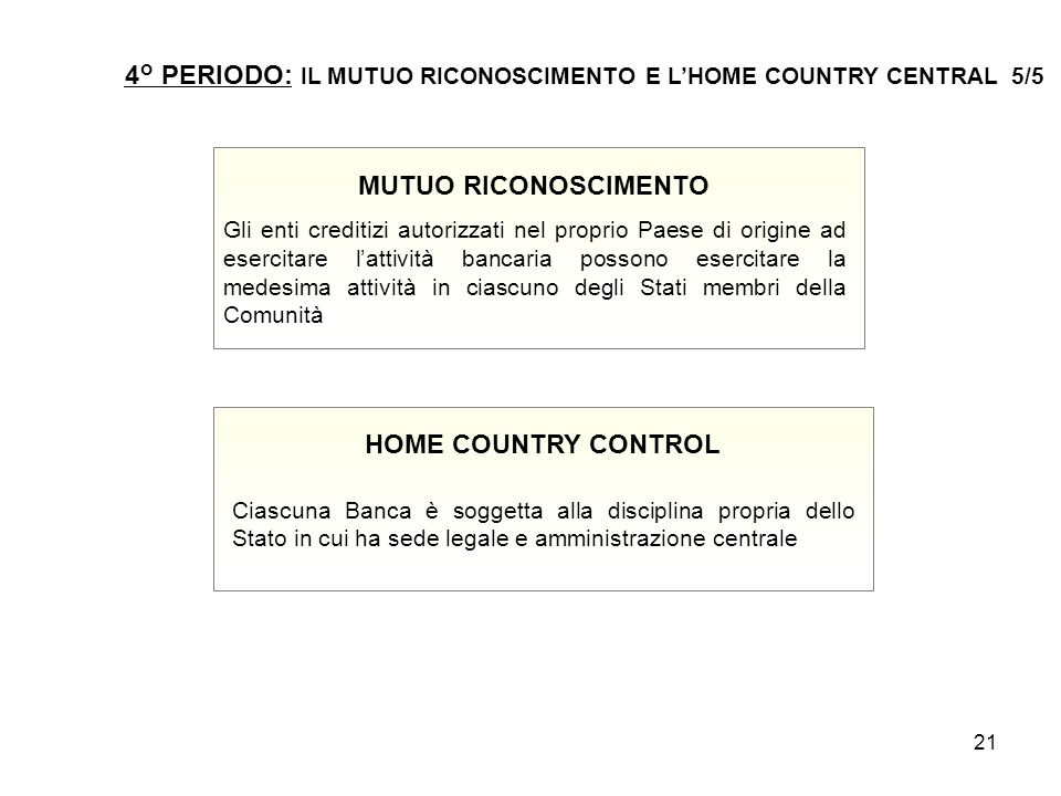 4° PERIODO: IL MUTUO RICONOSCIMENTO E L'HOME COUNTRY CENTRAL 5/5