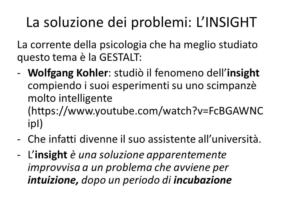La soluzione dei problemi: L'INSIGHT