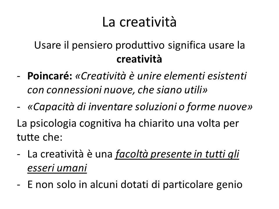 Usare il pensiero produttivo significa usare la creatività