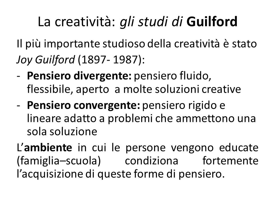 La creatività: gli studi di Guilford