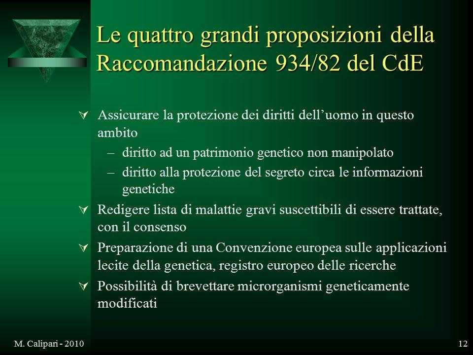Le quattro grandi proposizioni della Raccomandazione 934/82 del CdE