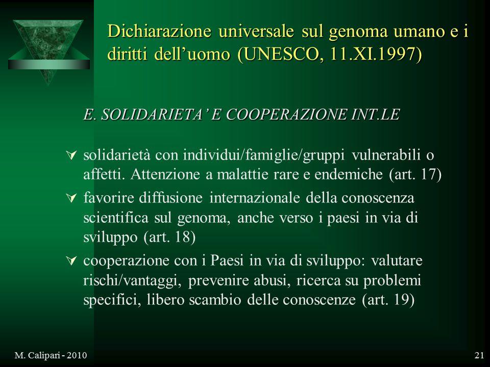 E. SOLIDARIETA' E COOPERAZIONE INT.LE