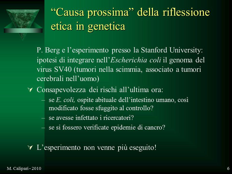 Causa prossima della riflessione etica in genetica