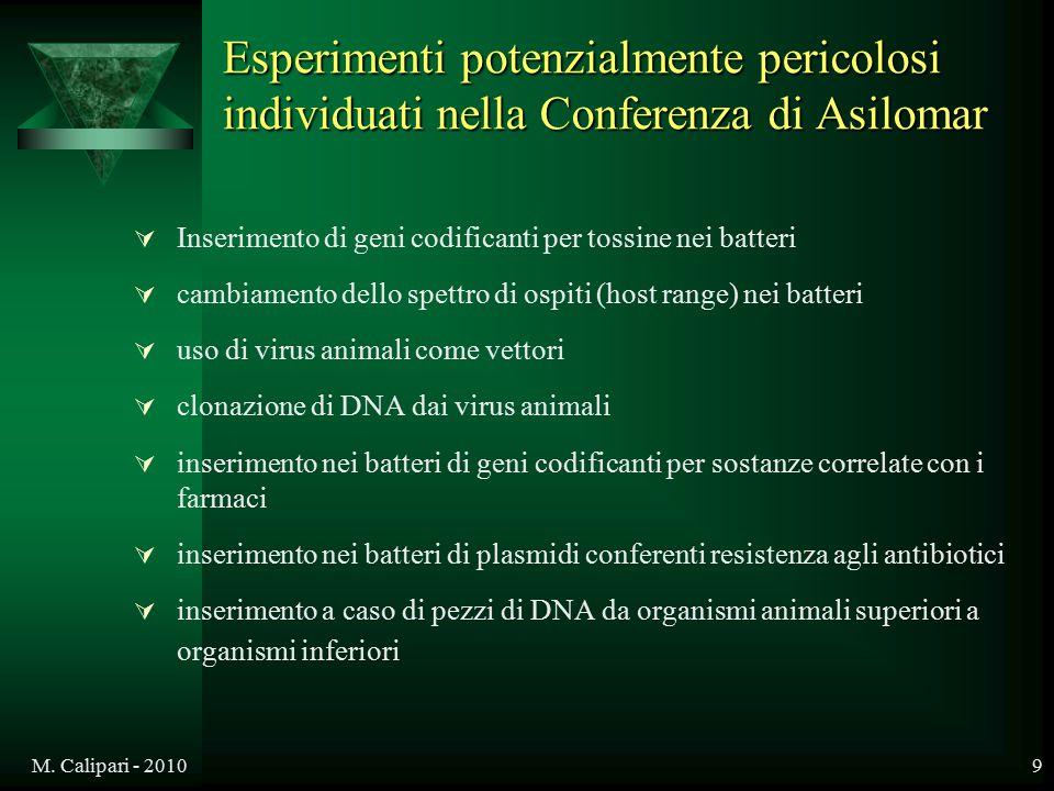 Esperimenti potenzialmente pericolosi individuati nella Conferenza di Asilomar