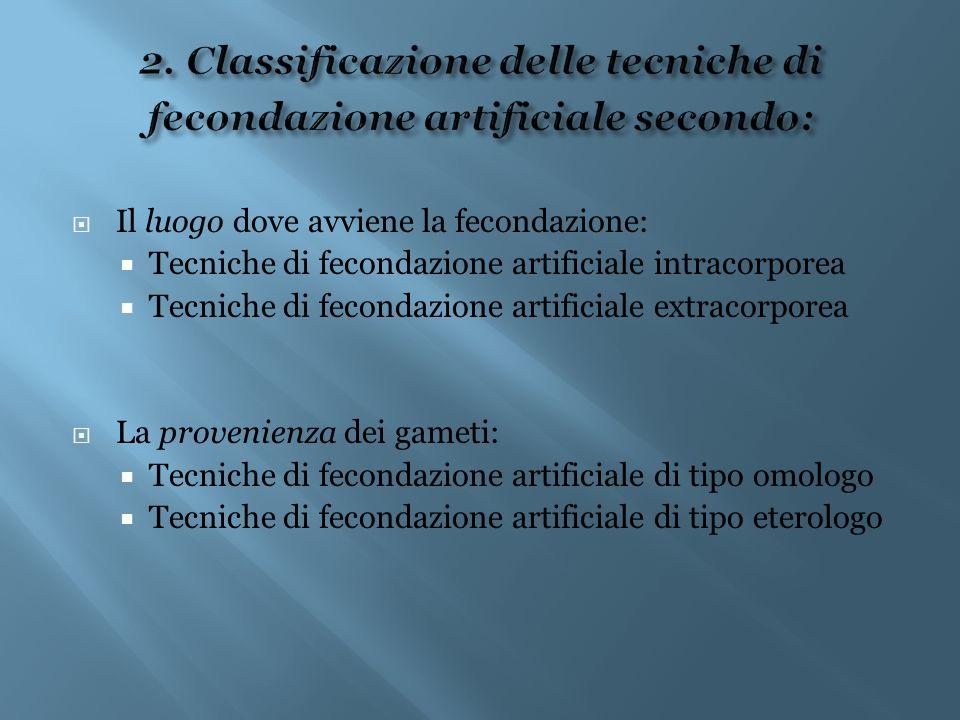 2. Classificazione delle tecniche di fecondazione artificiale secondo: