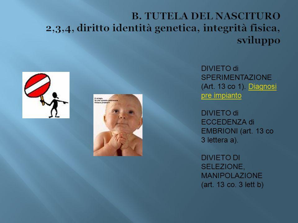 B. TUTELA DEL NASCITURO 2,3,4, diritto identità genetica, integrità fisica, sviluppo