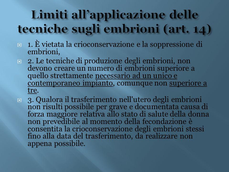 Limiti all'applicazione delle tecniche sugli embrioni (art. 14)