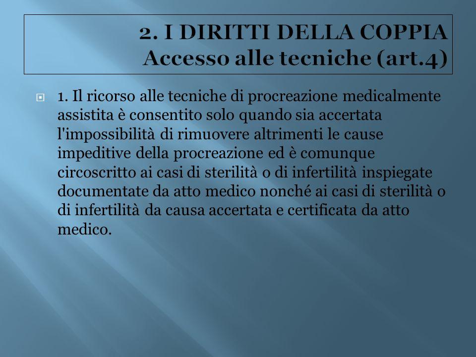 2. I DIRITTI DELLA COPPIA Accesso alle tecniche (art.4)