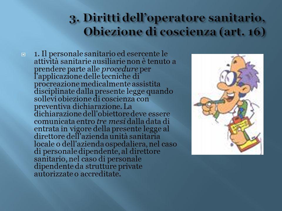 3. Diritti dell'operatore sanitario, Obiezione di coscienza (art. 16)