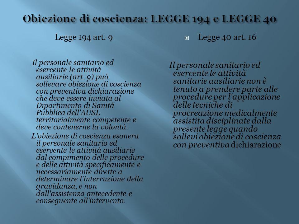 Obiezione di coscienza: LEGGE 194 e LEGGE 40